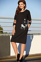 Женское осеннее черное нарядное большого размера платье Vittoria Queen 13003 черный 50р.