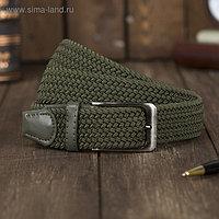 Ремень мужской, резинка плетёнка, пряжка тёмный металл, ширина - 3,5см, длина от 125см, цвет хаки