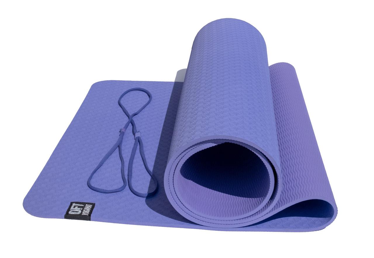Коврик для йоги 6 мм двуслойный TPE фиолетово-сиреневый - фото 1