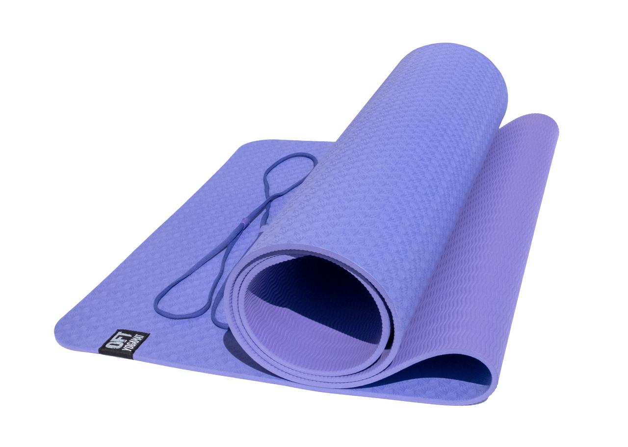 Коврик для йоги 6 мм двуслойный TPE фиолетово-сиреневый - фото 2