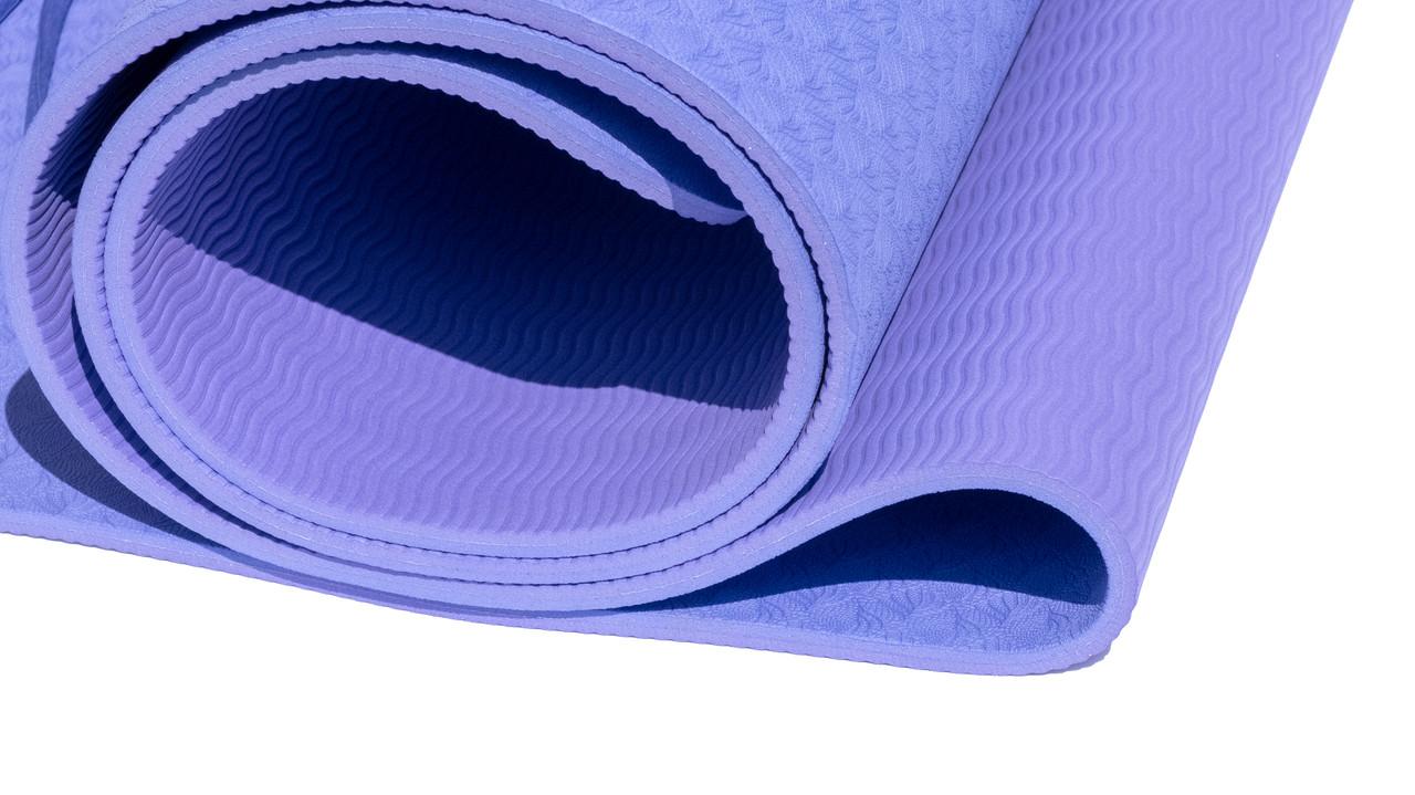 Коврик для йоги 6 мм двуслойный TPE фиолетово-сиреневый - фото 3