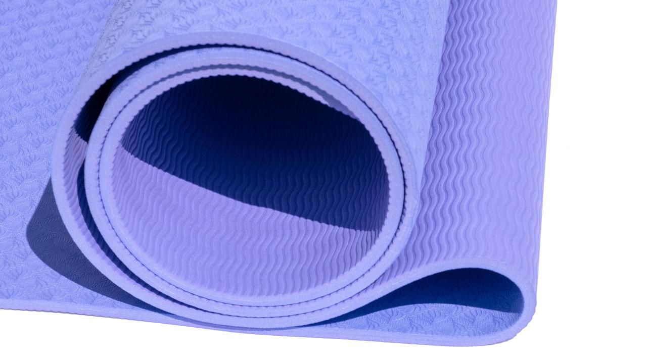 Коврик для йоги 6 мм двуслойный TPE фиолетово-сиреневый - фото 4