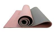 Коврик для йоги 6 мм двухслойный розово-серый