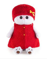 Игрушка мягкая Кошечка Ли-Ли в красной безрукавке и шапочке