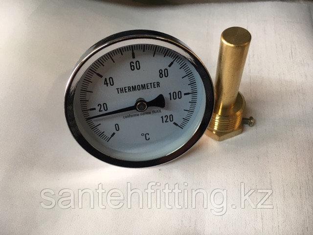 Термометр биметаллический, с погружной гильзой 50мм 1/2