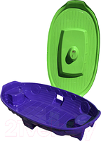 Песочница - бассейн с крышкой Doloni корабль зеленый/фиолетовый