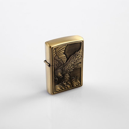Зажигалка «Орел в полете» в металлической коробке, с кремнием, бензин, фото 2