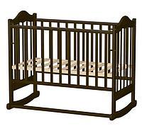 Кровать детская ВЕДРУС ИРИШКА-6 колесо/качалка без ящика, сердечко Тем.орех