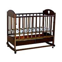 Кровать детская ВЕДРУС ИРИШКА 2 (ящик колесо/качалка накладка сердечко) Темный орех