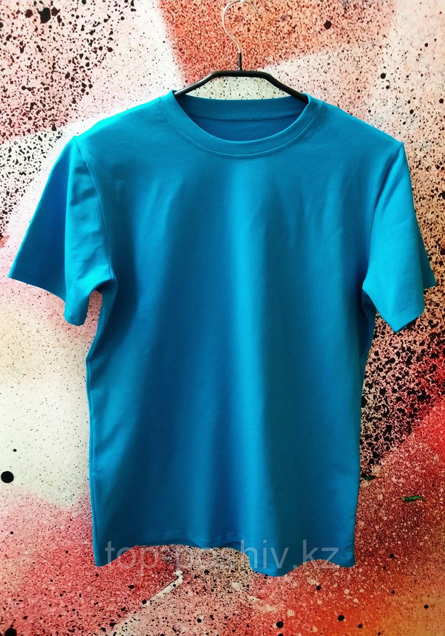 "Футболка Х/Б ""Unisex"", ткань Турция, цвет: Бирюза, р-р 46(S)"