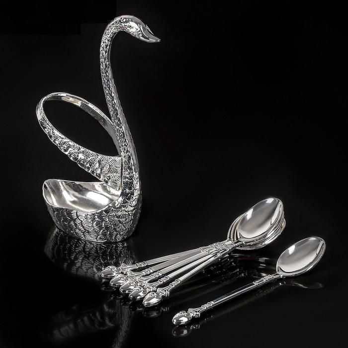 Набор ложек на подставке «Серебряный лебедь», 7,5×5×14 см