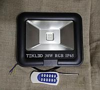 Цветной прожектор 30W RGB влагостойкий с радио пультом ДУ до 100 метров