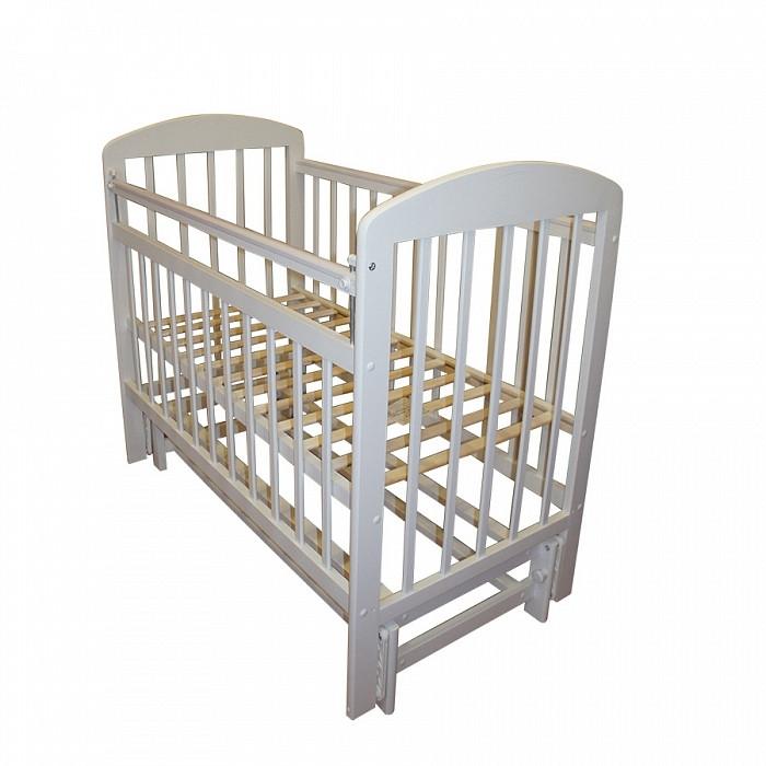 МОЙ МАЛЫШ Кровать детская 09 маятник продольного качания с накладкой слоновая кость