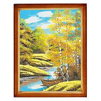 """Картина """"Осенний пейзаж"""" багет дерево 36х46 см, каменная крошка"""