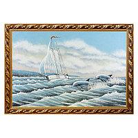 """Картина """"Дельфины"""" багет 46х66 см, каменная крошка"""