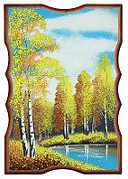 """Панно прямоугольное """"Осенний пейзаж"""" 22х15 см каменная крошка"""