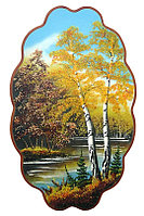 """Панно с рисунком из камня """"Осенний пейзаж"""" 45х29 см"""