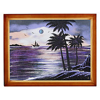 "Картина ""Морской пейзаж"" багет дерево 36х46 см, каменная крошка"