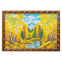 """Картина """"Осенний пейзаж"""" багет №8 50х80 см, каменная крошка"""