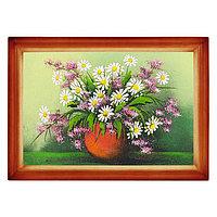 """Картина """"Полевые цветы в вазе"""" багет дерево 24х34 см, рисунок каменная крошка"""