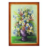 """Картина """"Полевые цветы в вазе"""" багет дерево 46х66 см, каменная крошка"""