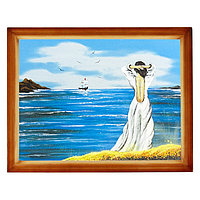 "Картина ""Девушка у моря"" багет дерево 36х46 см, каменная крошка"