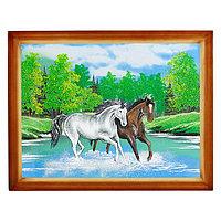 "Картина ""Две лошади"" багет дерево 36х46 см, каменная крошка"