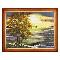 "Картина ""Закат"" багет дерево 36х46 см, каменная крошка"