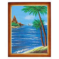 """Картина """"Морской пейзаж с пальмами"""" багет дерево 36х46 см, каменная крошка"""