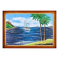 """Картина """"Морской пейзаж с пальмами"""" багет 46х66 см, каменная крошка"""