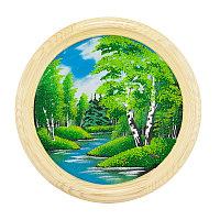 """Панно каменное на тарелке из дерева """"Летний пейзаж"""" 40 см"""