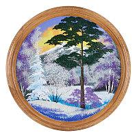"""Панно каменное на тарелке из дерева """"Зимний пейзаж"""" 50 см"""