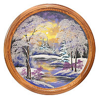 """Панно каменное на тарелке из дерева """"Зимний пейзаж"""" 60 см"""
