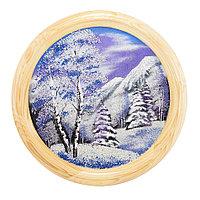"""Панно каменное на тарелке из дерева """"Зимний пейзаж"""" 40 см"""