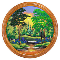 """Панно каменное на тарелке из дерева """"Летний пейзаж"""" 50 см"""