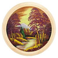 """Панно каменное на тарелке из дерева """"Осенний пейзаж"""" 50 см"""