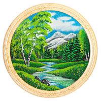 """Панно каменное на тарелке из дерева """"Летний пейзаж"""" 60 см"""