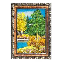 "Картина ""Осенний пейзаж"" рамка багет 10х15 см, каменная крошка"