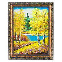 "Картина ""Осенний пейзаж"" рамка багет 15х20 см, каменная крошка"