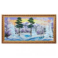 """Картина """"Зимний пейзаж"""" багет №7 40х80 см, каменная крошка"""