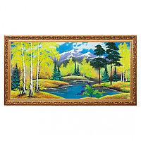 """Картина """"Осенний пейзаж"""" багет №7 40х80 см, каменная крошка"""