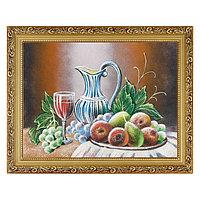 """Натюрморт """"Фрукты с фужером вина"""" багет 36х46 см, каменная крошка"""