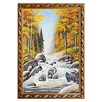 """Картина """"Горный ручей в осеннем лесу"""" багет 46х66 см, каменная крошка"""