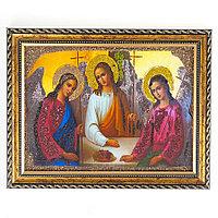 Икона Святая Троица рамка багет 15х20 см, каменная крошка