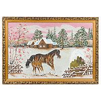 """Картина """"Лошадь с жеребенком"""" багет 46х66 см, каменная крошка"""