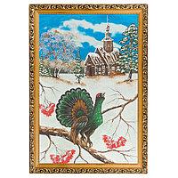 """Картина """"Глухарь зимой"""" багет 46х66 см, каменная крошка"""
