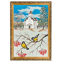 "Картина ""Зимняя церковь"" багет 46х66 см, каменная крошка"