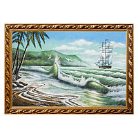 """Картина """"Пейзаж с парусником и пальмами"""" багет 46х66 см, каменная крошка"""