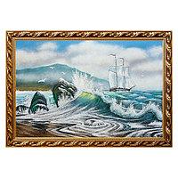 """Картина """"Вид на море с парусником"""" багет 46х66 см, каменная крошка"""