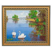 "Картина с каменной крошкой ""Лебеди на озере"" багет 28х34 см 99030"